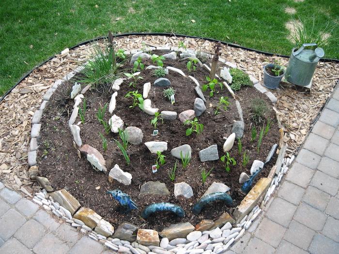 kräuterspirale anlegen - jetzt zeigen wir ihnen eine unserer ideen für eine kräuterschnecke mit kleinen steinen und verschiedenen grünen pflanzen und kräutern