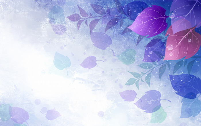 animiertes Bild, Pflanzenmotive, Blätter, Tropfen, Blasen, weiße Punkte