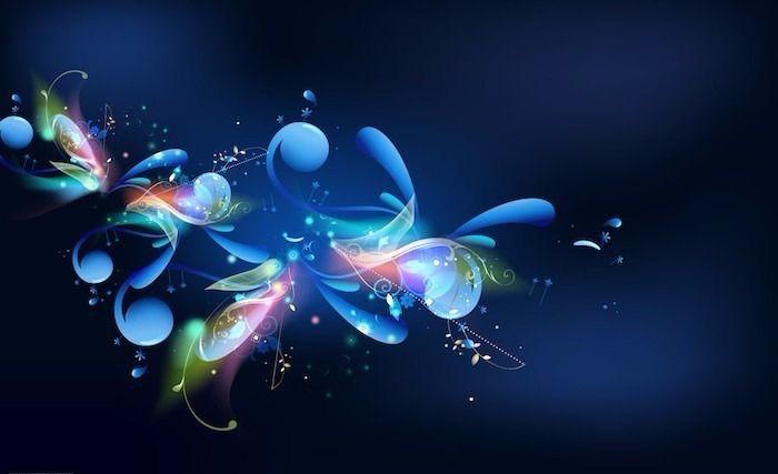 dunkle Farben, blaue Nuancen, weiße Punkte, Blättermotive, märchenhaft