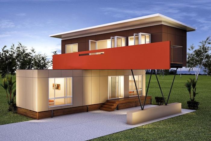 hier ist eine idee für ein modenes zweistöckiges haus aus containern mit fenstern, lampen und treppe und einem garten