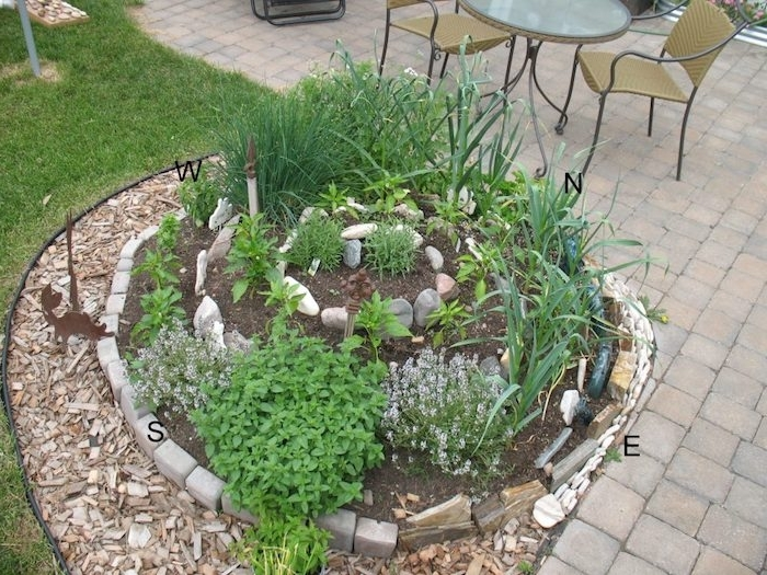 auf diese weise kann man eine kräuterspirale mit steinen und pflanzen selber bauen