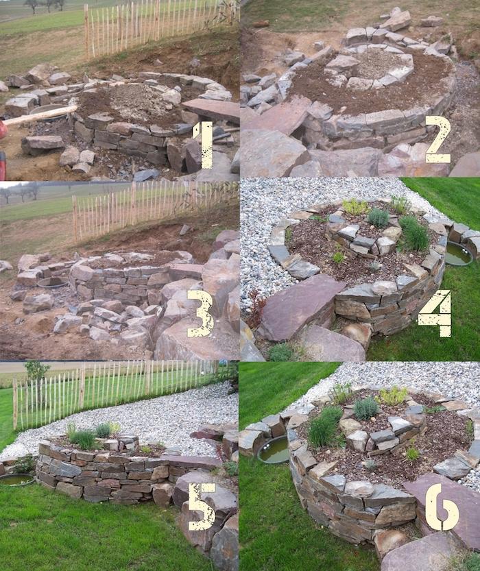 eine einfache bauanleitung zum thema kräuterspirale selber bauen - eine kräuterspirale mit steinen und grünen pflanzen und kräutern