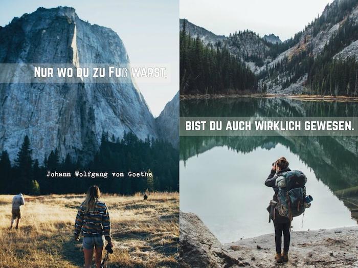 hier finden sie zwei tolle bilder mit reisenden frauen und bergen und einen tollen spruch von goethe