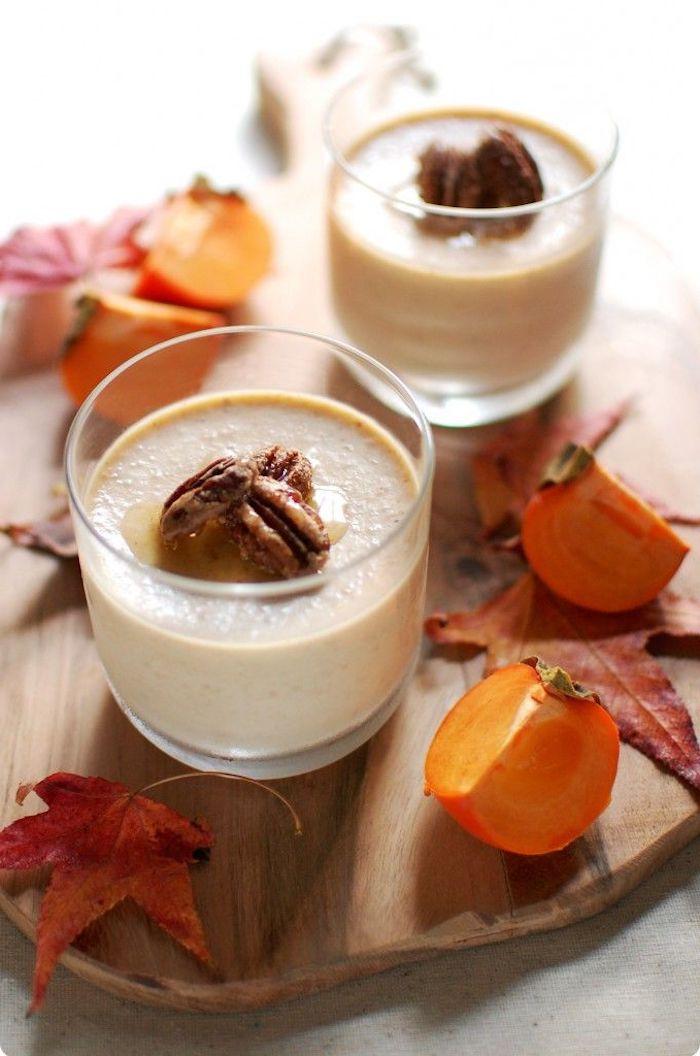 smoothie mit sharonfrucht und wallnüssen, gesunde rezepte