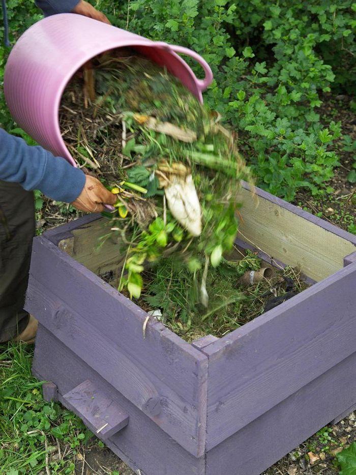 wir empfehlen ihnen einen blick auf diesen kleinen schönen lila komposter zu werfen - tolle idee zum thema gartengestaltung - komposter und eimer