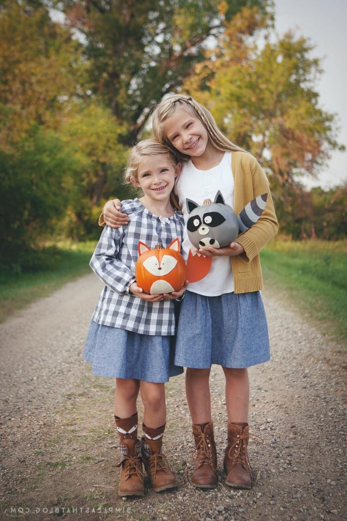 Fuchs und Waschbär aus Kürbissen selber machen, tolle DIY Ideen für Kinder, Schritt für Schritt Anleitungen und Bilder