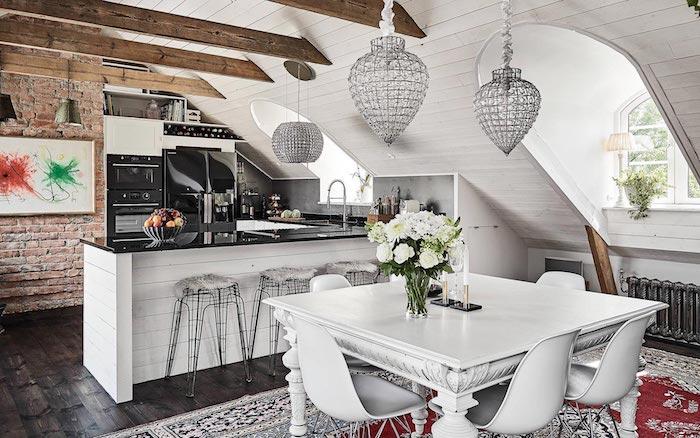 vintage küche design ideen zum inspirieren weiße möbel lampe grau holz ziegel vase