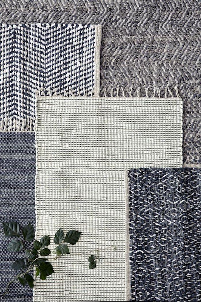 teppich gelb grau schwarz weiß drei teppiche verschiedene größe und farben