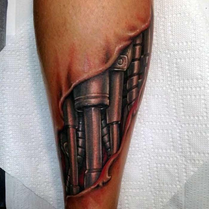 männer tattoos, 3d tätowierung am bein, roboter tattoo
