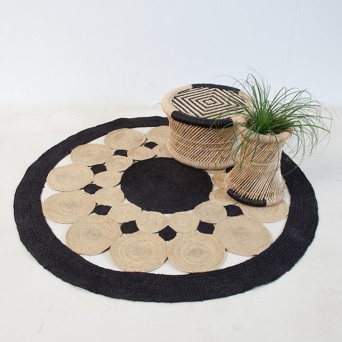 teppich kurzflor beige ideen schwarz-beige gestaltung idee kreisförmig blumen deko