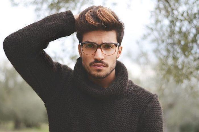 frisuren undercut haare schön und trendy gestalten mann mit brille und bart model