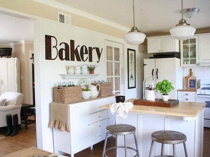 vintage küche tolle idee zum einrichten bäckerei auf der wand als aufschrift design