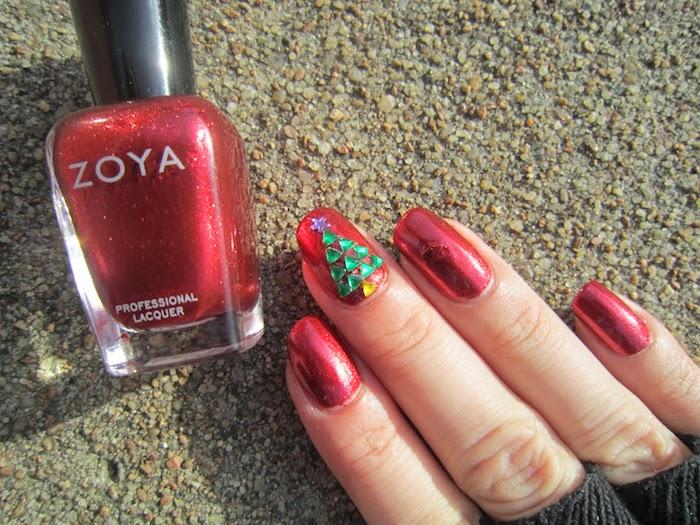 nägel weihnachten rote nägel zu jedem fest grüne dekoration weihnachtsbaum zoya