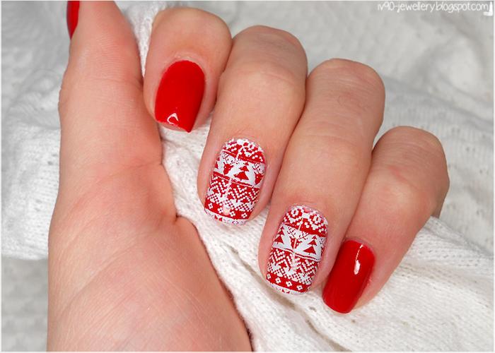 nageldesign weihnachten rot weißes nageldesign ideen zum gestalten tolle maniküre