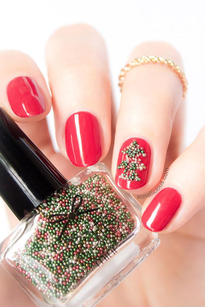 nageldesign weihnachten rote maniküre designen perlen ideen zum gestalten nagel