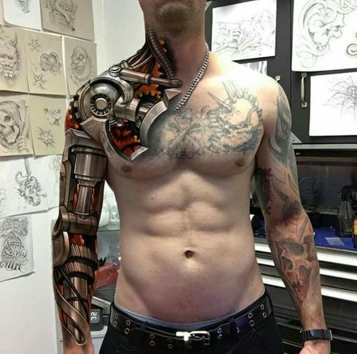 tattoo motive männer, sleeve tattoo mit maschinenteilen, arm tätowieren