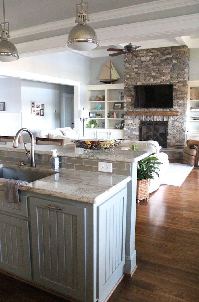 Küchen Ideen um dem Raum optimal zu nutzen, Küche und Wohnzimmer kombiniert