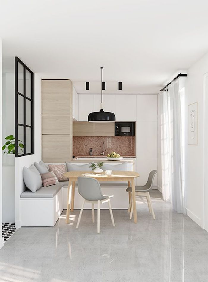 Offene Küche mit Marmor Boden eine skandinavische Einrichtung, perfekt für jeden Tag