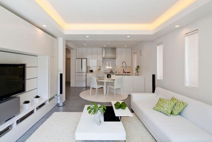 eine weiße Ausstattung von einer offenen Küche und Wohnzimmer, grüne Dekoration