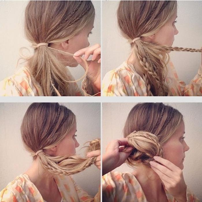 Wiesn Frisuren ein blondhaariges Mädchen mit vielen Zöpfen gibt die Anleitung