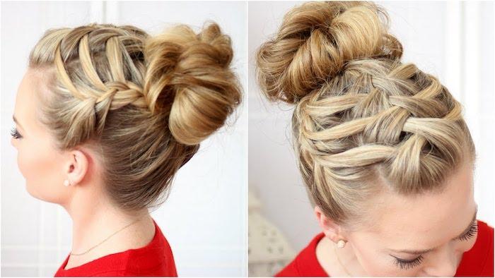ein blondes Haar interessant geflochten und Hochsteck Frisur - Dirndl Frisuren