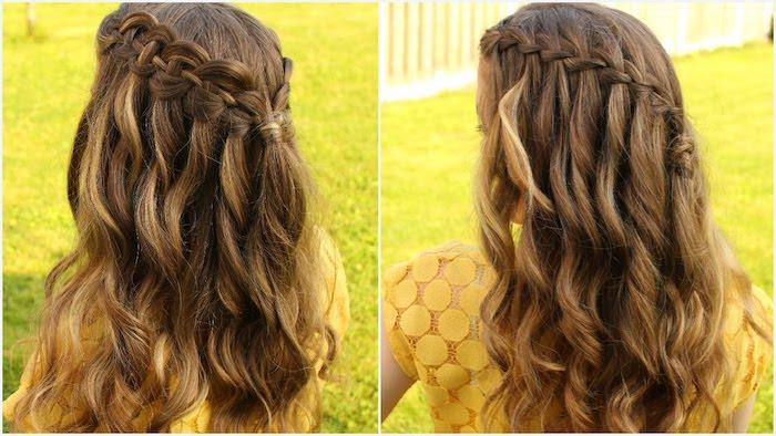 zwei Beispielfrisuren mit verschieden geflochtenen Haar - Dirndl Frisuren