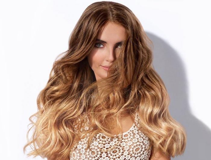 ombre hair braun lange haare braun mit schönen goldenen spitzen idee frisur