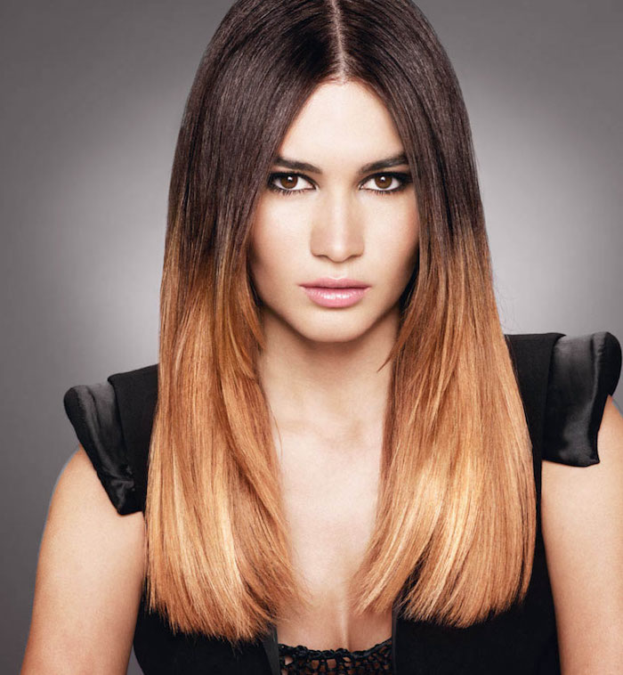 ombre hair braun bis zum golden blond spitzen gestaltung ideen glatte haare