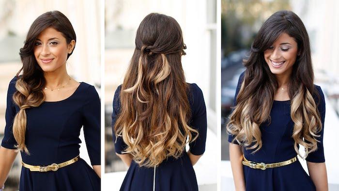 ombre haarfarbe schöne lange haare design ideen lange haar elockig kleid bild fotos