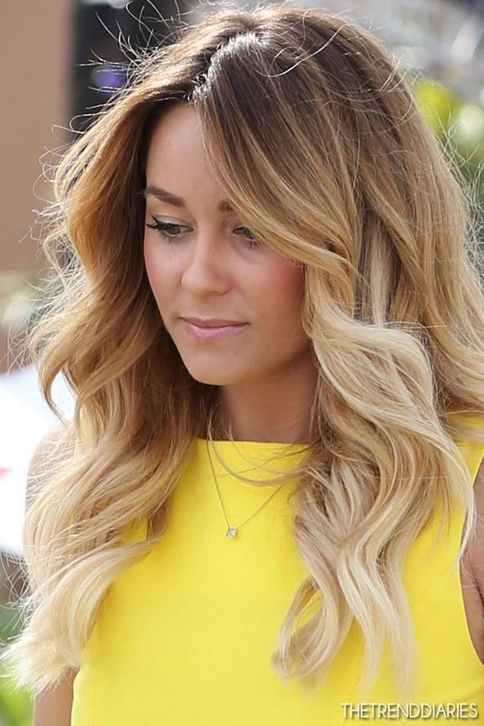 ombre selber machen anleitung ideen lockige haare gelbes kleid nuancen farben