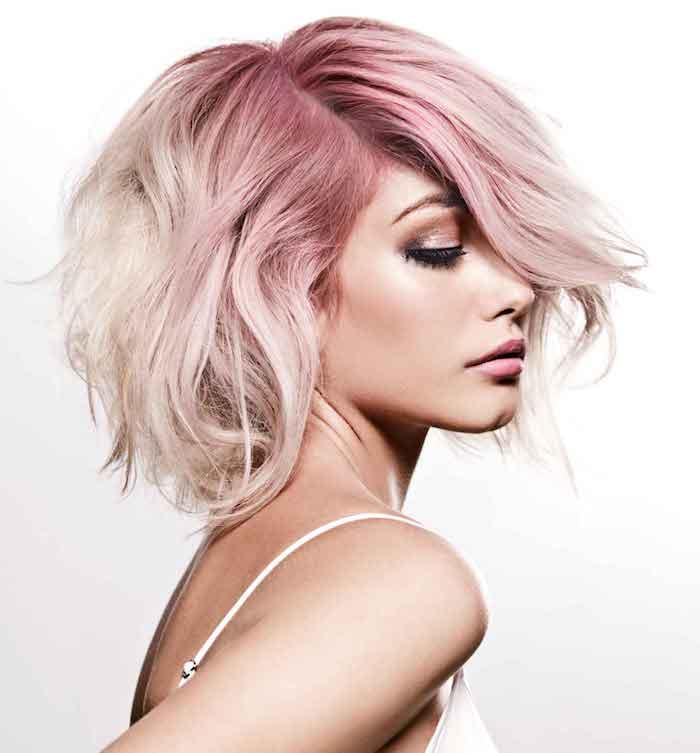 ombre kurze haare schöner look haare blond rosarot ausgefallene haarideen frauen