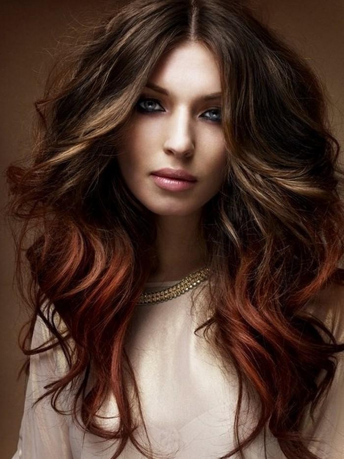 ombre färben farbgestaltung tolle idee lange haare braun rot tönungen nuancierung