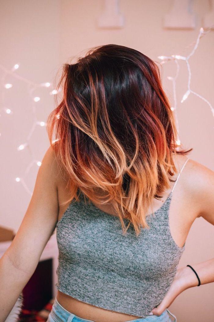 ombre färben ideen für kurze haare ausgefallene haarafrben gestaltung lichter