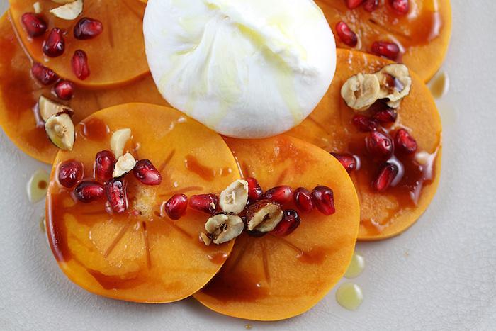kaki gesund, dessert selber machen, nachspeise mit müsli und granatapfelsamen