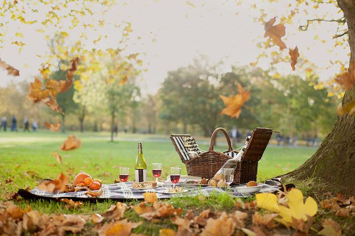 romantisches Abendessen im freien Himmel, Wein trinken