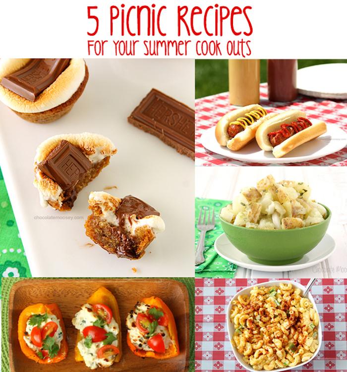 fünf Rezepte, Hot Dog mit Ketchup und Senf, Nudelsalat, Schokolade