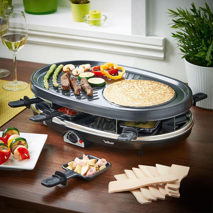 zutaten raclette großes gerät für mehrere personen speisen zubereiten einfach schnell