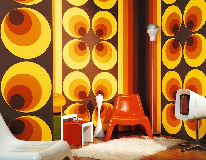 deluxe kollektion retro tapeten muster geometrische formen farben gelb braun orange