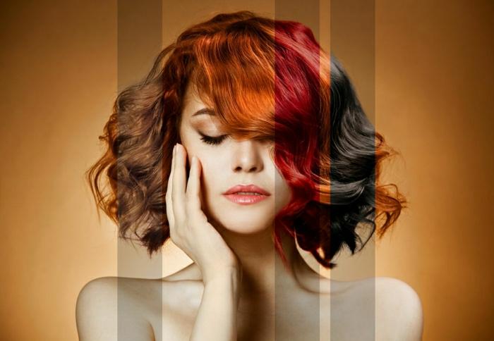 Rottöne- Kupfer, Kupferblond, Intensiv Rot, Dunkle Kirsche, armlanges Haar