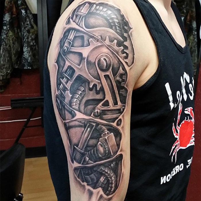 schulter tattoo im 3d-look, 3d tätowierung in schwarz und grau