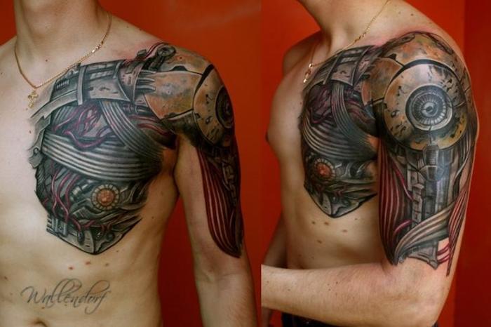 schulter tattoo, mann mit biomechanischer tätowierung am oberarm und brust