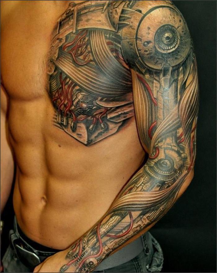 tattoo motive männer, tätowierung mit maschinenteilen stechen lassen