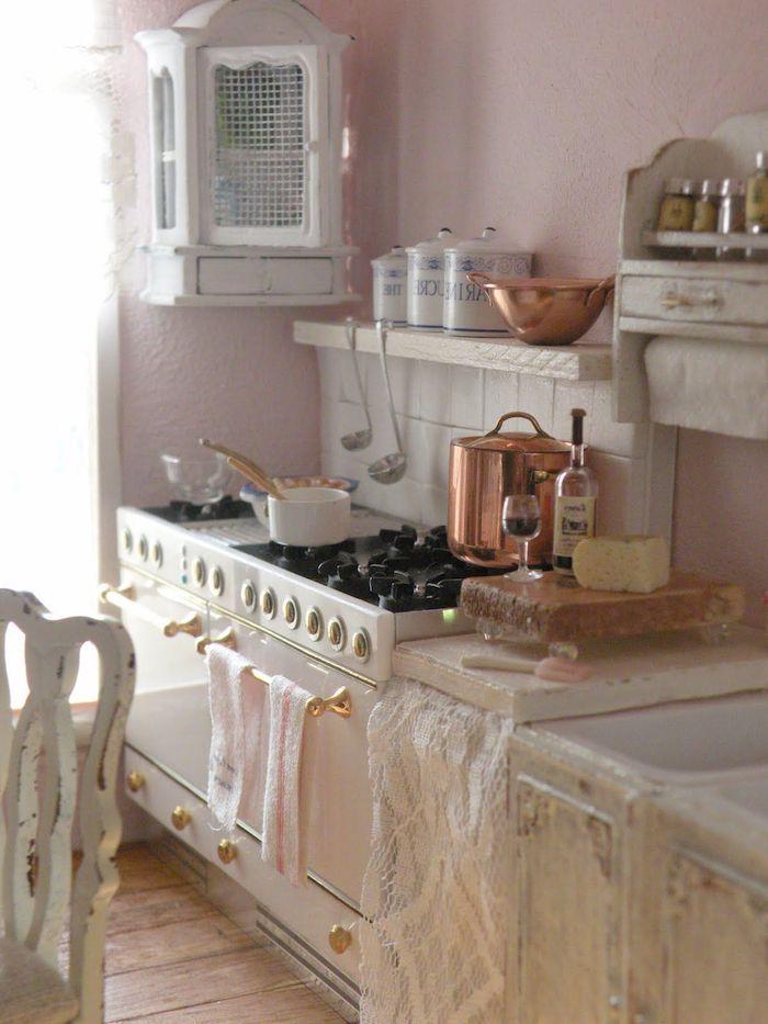 vintage küche elemente in der küche herd kochbereich topf wein trinken und kochen