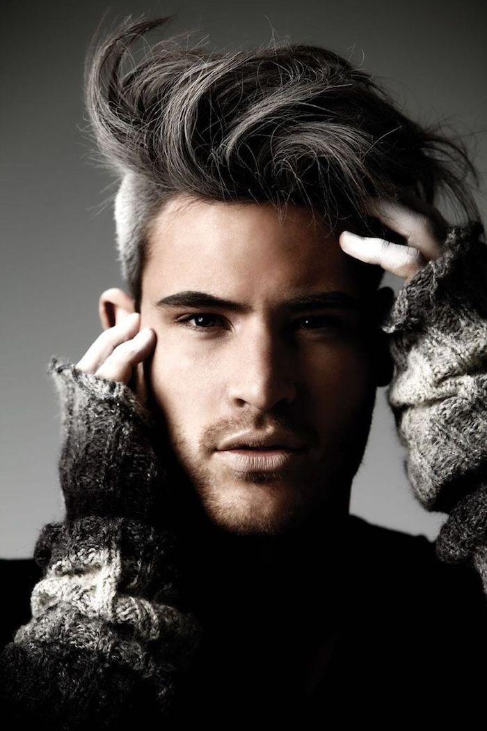 sidecut frisuren für männer graue haare toll stylen model fotosession fotos bilder