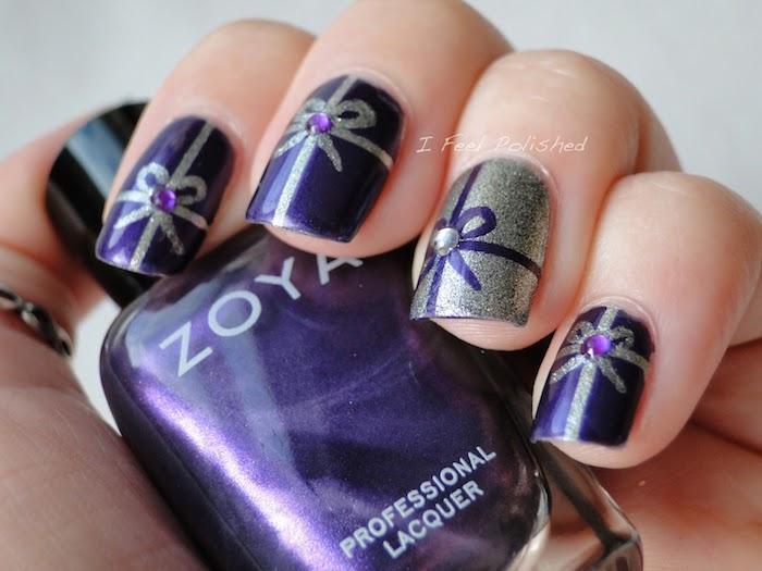 winterliche nägel zu weihnachten gestaltungsideen lila geschenk design auf den nägeln