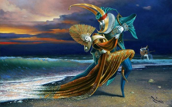 ein surrealistisches Bild, eine Frau tanzt mit einem Mann, Gitarrenspieler
