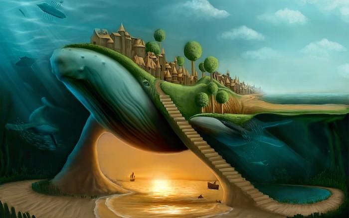 surrealistische Zeichnung, riesiges Meereswesen, Gebäude mit gespitzten Dächern