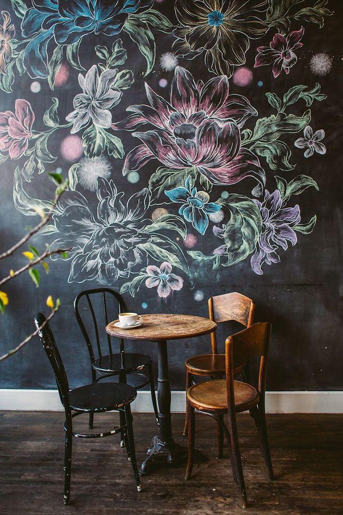 eine Ecke im Kaffee mit bemalten schönen, bunten Blumen - Wandfarben Ideen