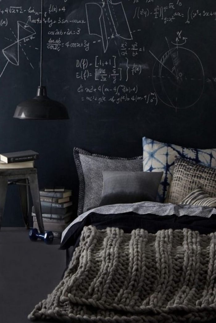 eine schwarze Tafel mit Zeichnungen mit Kreide im Schlafzimmer Wandfarben Ideen