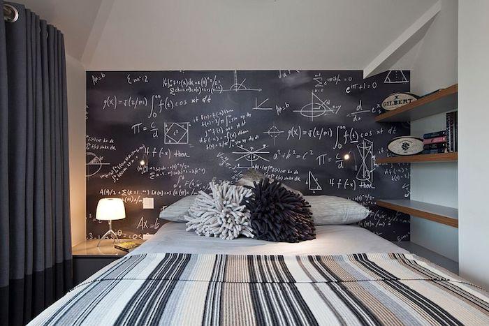 ein Schlafzimmer mit Tafellack gestrichen und darauf stehen Formel und Matheaufgaben